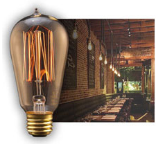 Edison Bulbs at a Restaurant