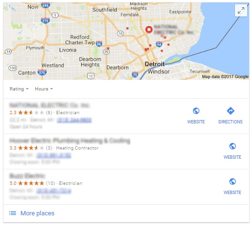 Google My Business Detroit Electrician